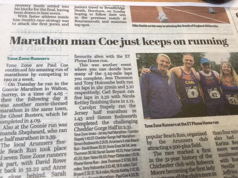 Paul Coe Marathon News Article